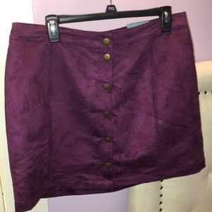 Plum faux suede skirt